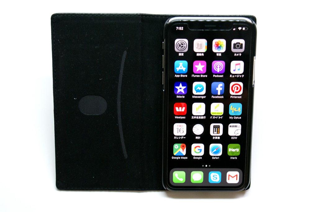 液晶保護フィルムをはってケースにいれたiPhoneX