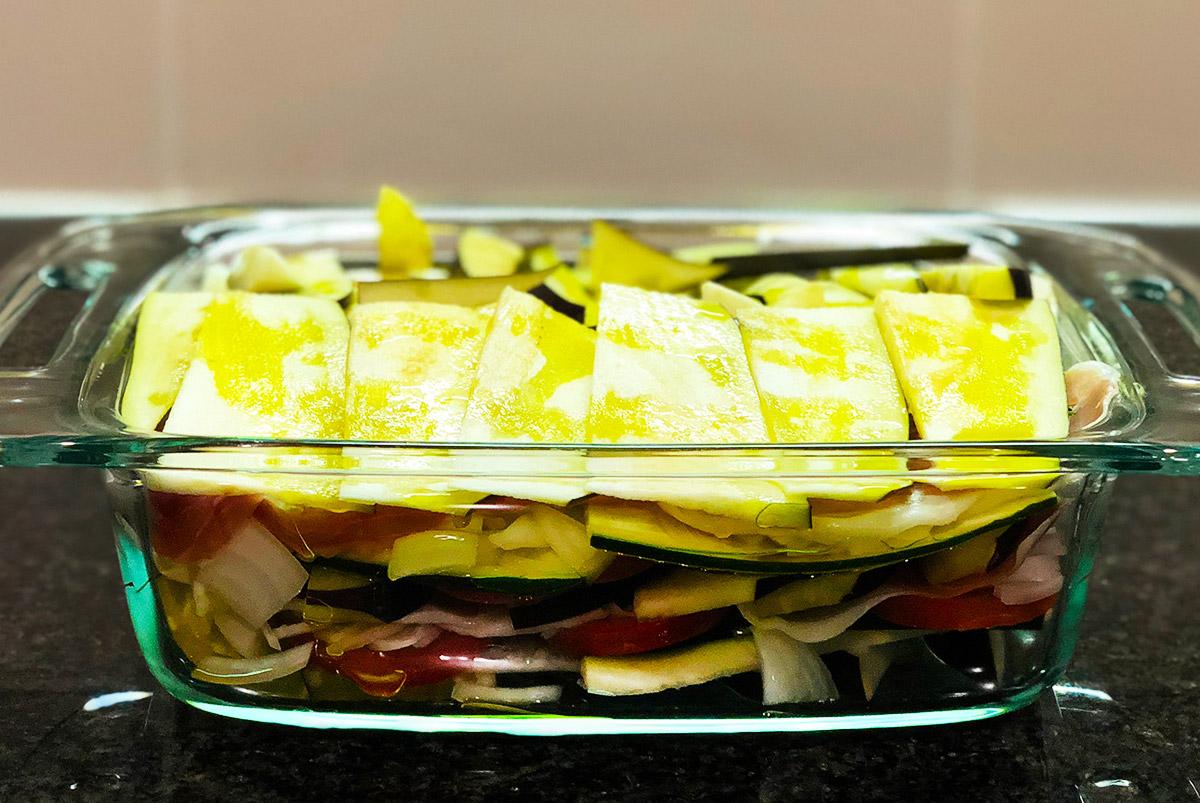 生ハムと野菜のオーブン焼き